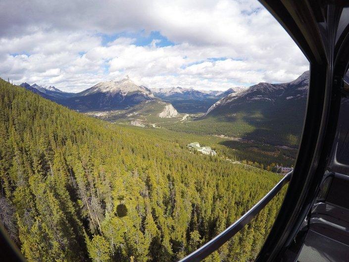 taking the banff gondola ride up to sulphur mountain