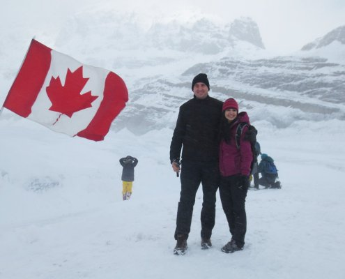 windy and lots of snow at athabasca glacier