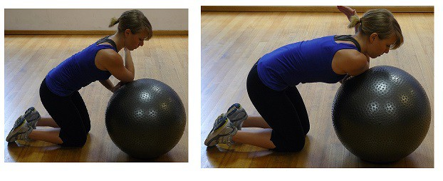 Stretching with fitness ball