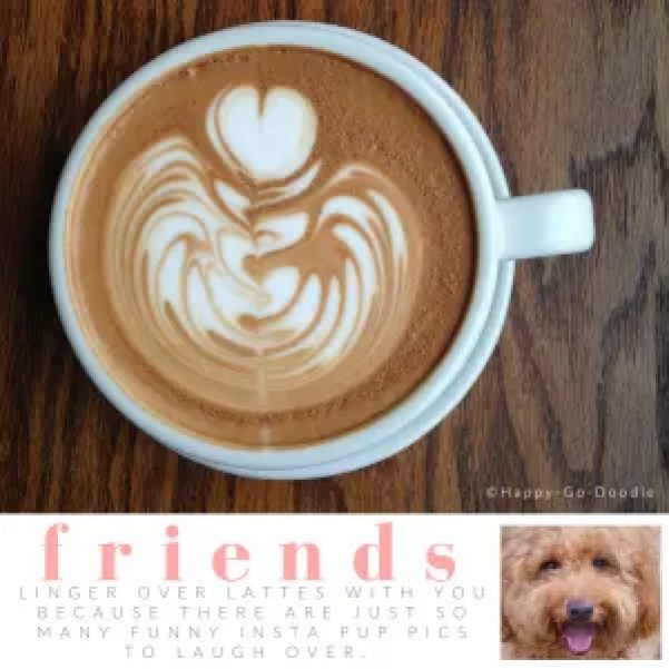 Downshot of cup of latte with heart swirled in foam and title friends and quote about dogs and coffee, inset of goldendoodle dog photo