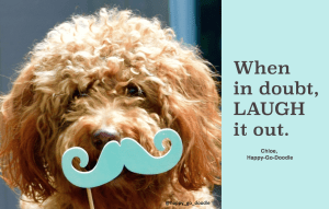 Red goldendoodle dog's face with teal blue mustache photo booth prop and quote about laughter by Chloe, Happy-Go-Doodle