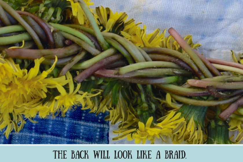 "Close-up of reverse of dandelion crown and text that reads ""the back will look like a braid"""