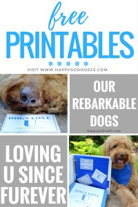 "Show your dog-lovin' spirit with these free printables that say ""Dogs Love U"" and ""Loving U Since Furever"" and ""Our rebarkable dogs"""