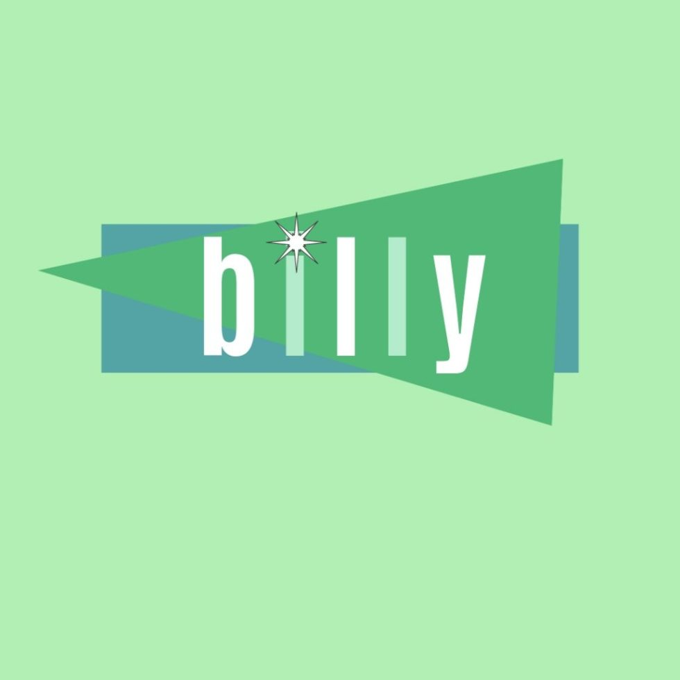 male name billy in retro lettering