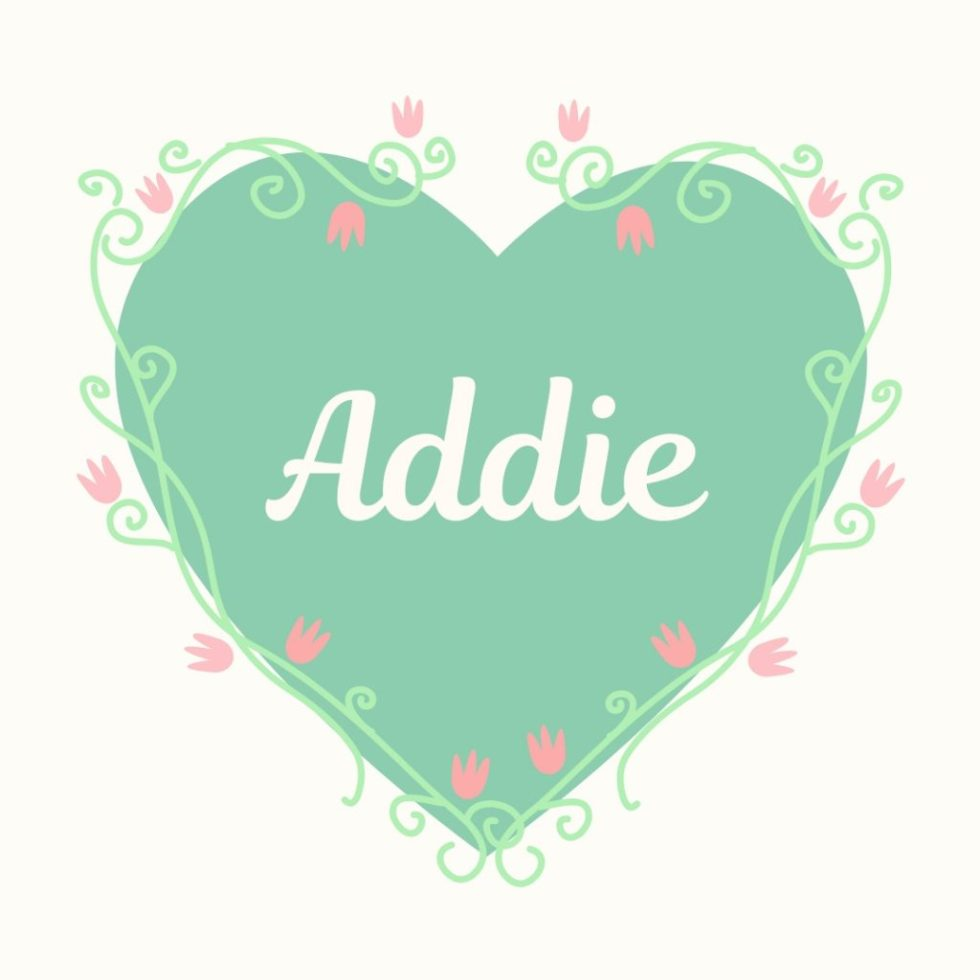 old fashioned heart with old fashioned dog name addie