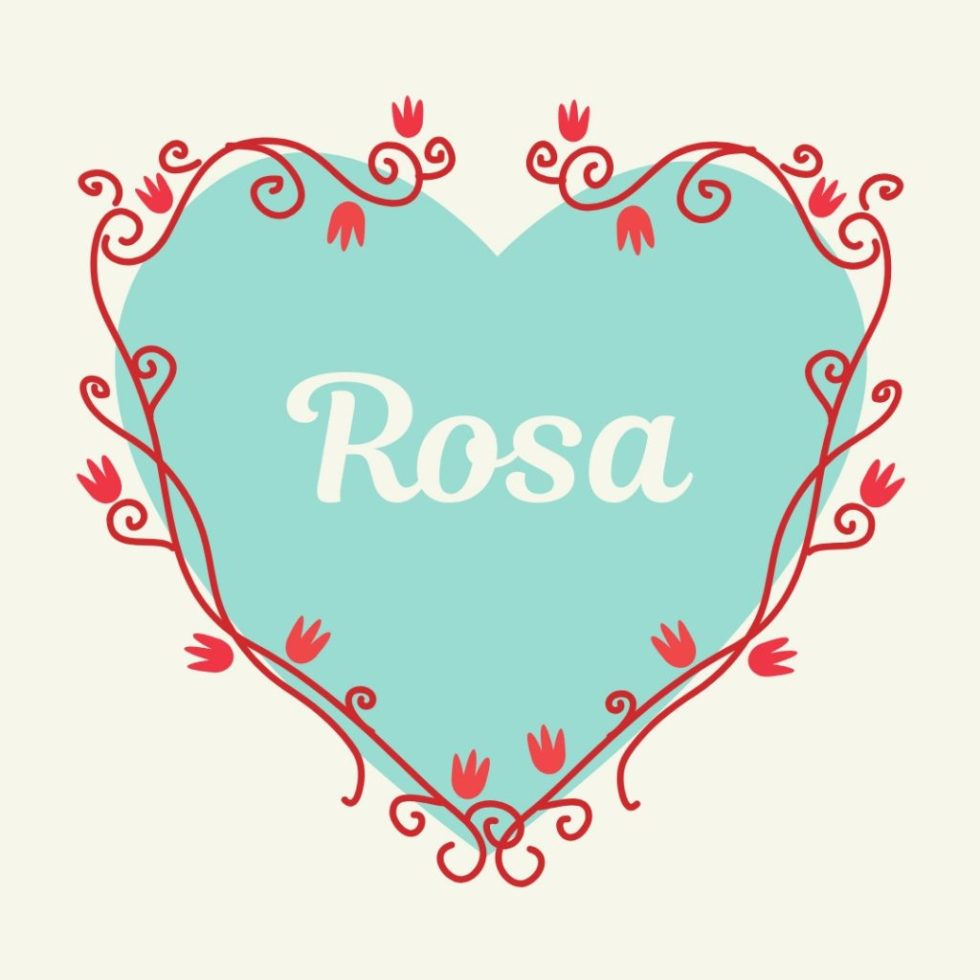 vintage blue heart with old fashioned name rosa