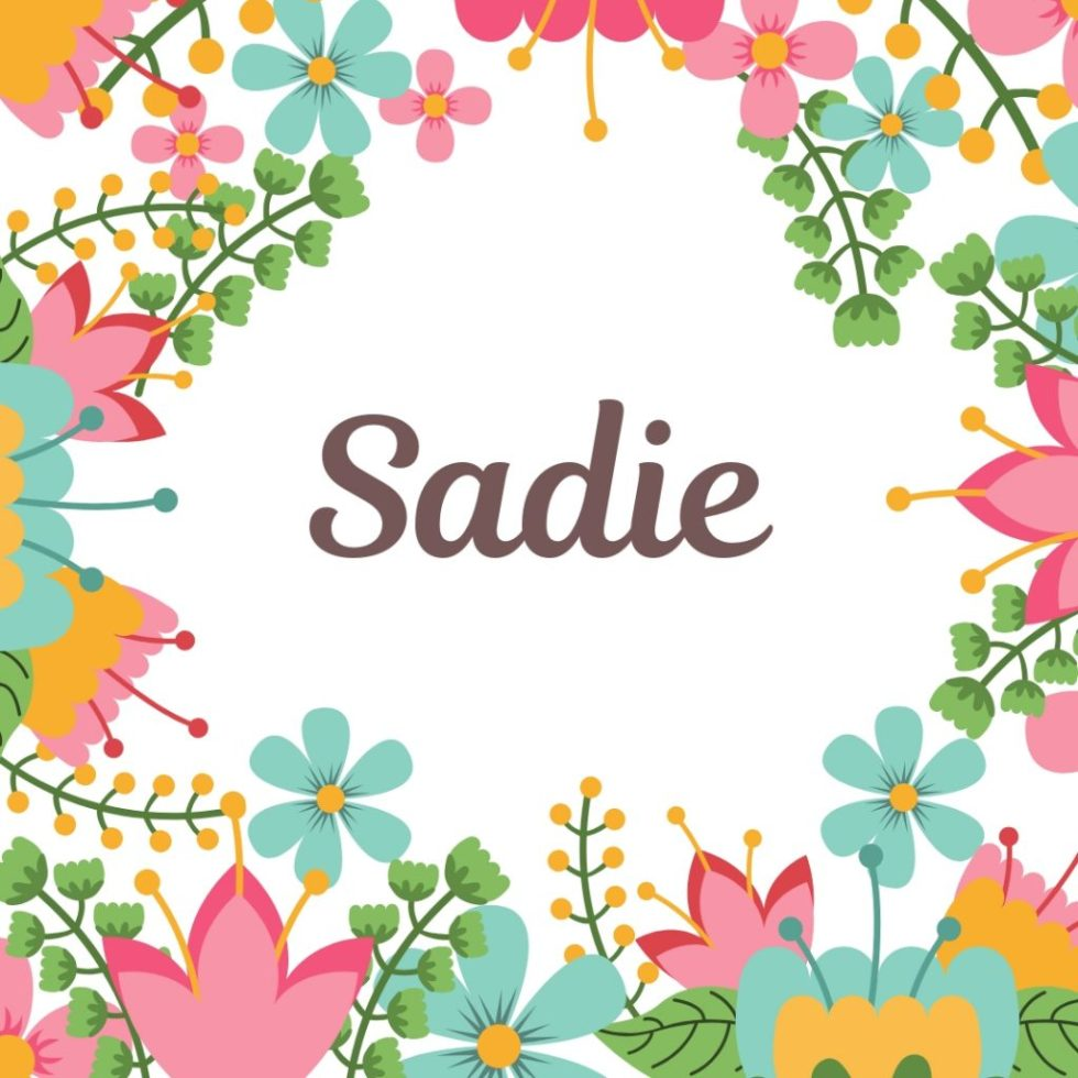 vintage floral border around old fashioned dog name Sadie
