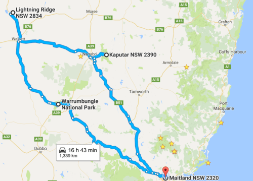The map of the long planed route. Starting in Maitland NSW, Warrumbungle's, Lightning Ridge NSW and Mount Kaputar NSW.