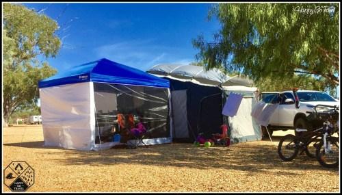 Black Series camper trailer setup at Lightning Ridge Opal country caravan park