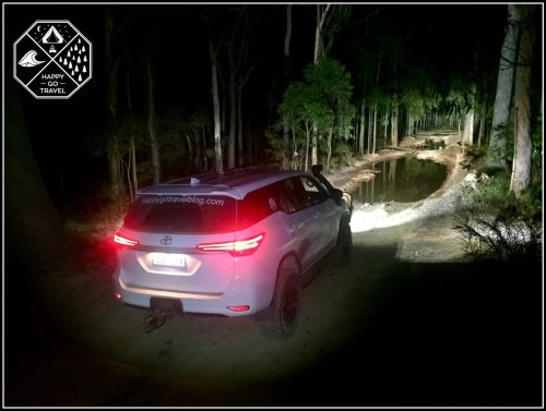 Toyota Fortuner off road at night with Stedi LED Light bars on   Stedi light bar review