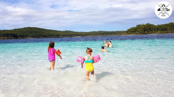 Kids playing at Lake McKenzie Fraser Island