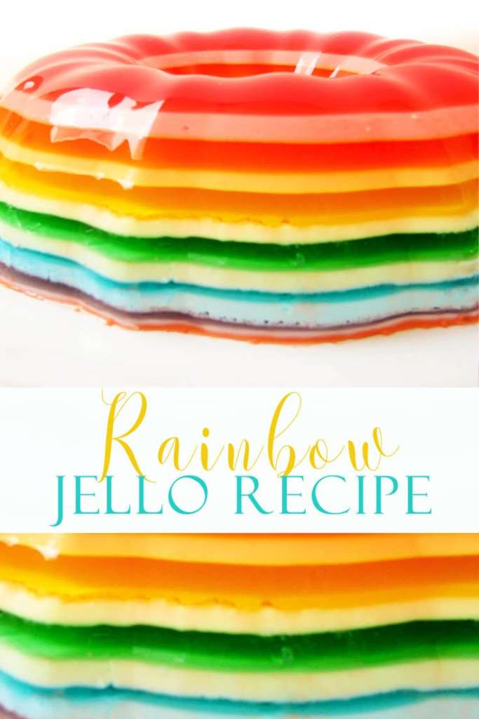 This Rainbow Jello Recipe is so festive and fun! Make it for a dinner party! #recipes #recipe #jello #jellorecipes #jellomolds #rainbowjello #desserts #rainbowdesserts