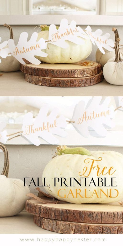 This easy, cute free fall printable is perfect for making an autumn garland. Create this paper garland in minutes and decorate your home for the fall.