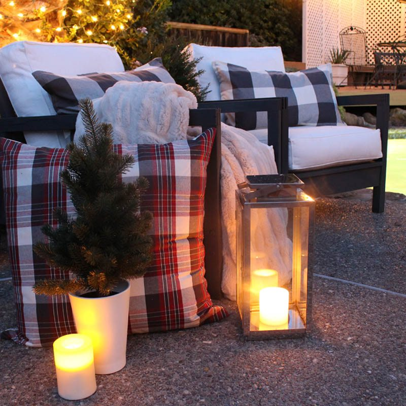Outdoor firepit warms up the patio