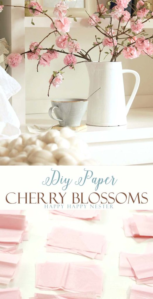 Paper flowers diy tutorial using tissue paper. Easy to make cherry blossoms that you attach to a real branch. These flowers are beautiful for your home.