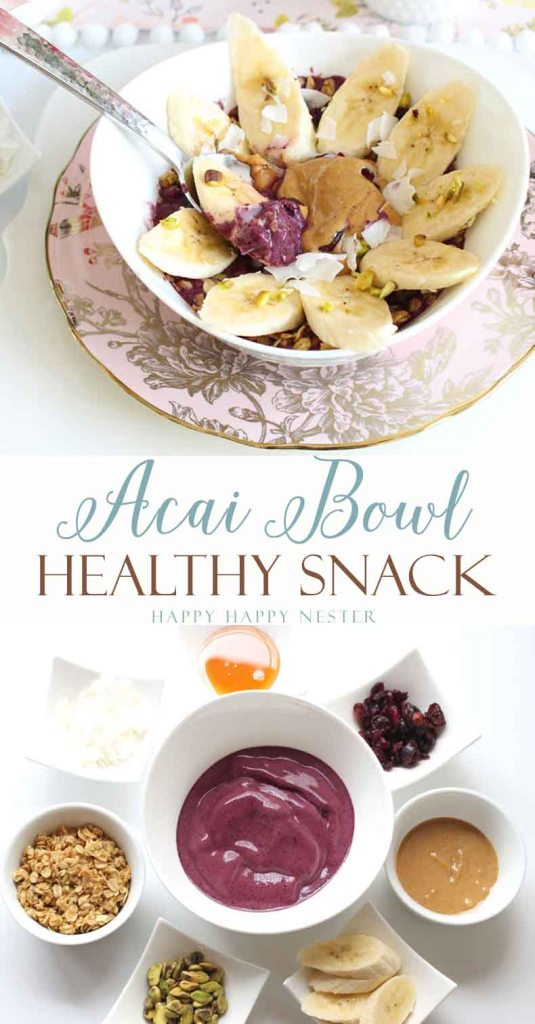 This Acai Bowl recipe is healthy and heart friendly. Welches 100% Grape Juice has heart benefits. Acai berries are high in protein, making it a great snack.