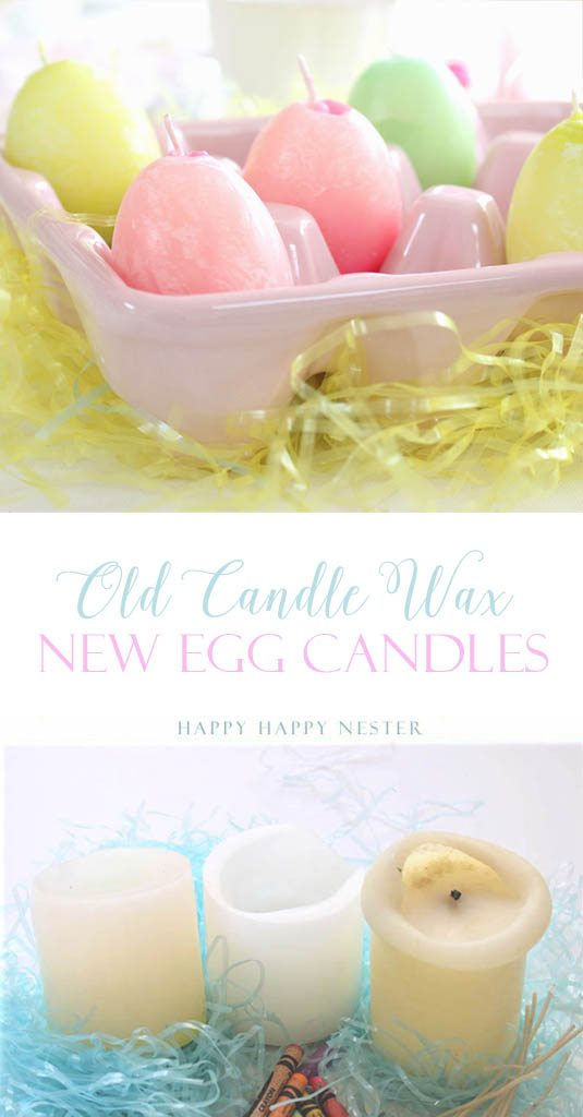 Make these cute egg candles from old candle wax and old crayons. Use actual eggs shells for the molds. This upcycle project makes cute Easter candles.