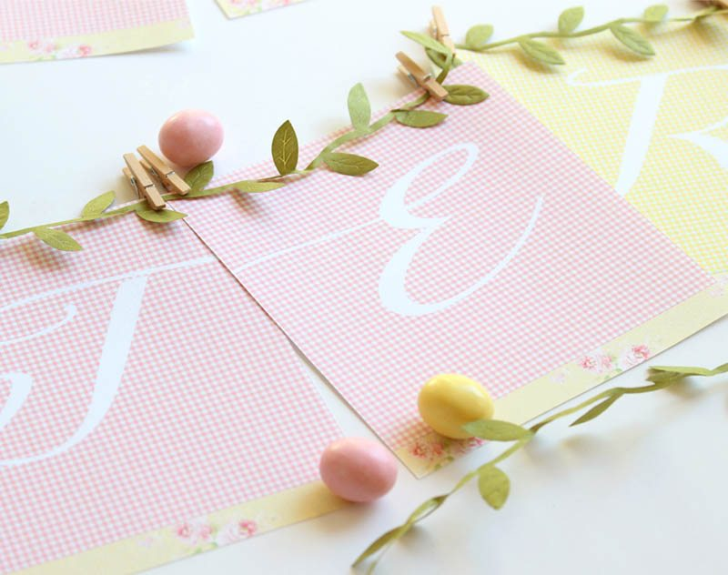 image about Easter Banner Printable known as Totally free Easter Banner Printable: Purple and Eco-friendly Gingham Print