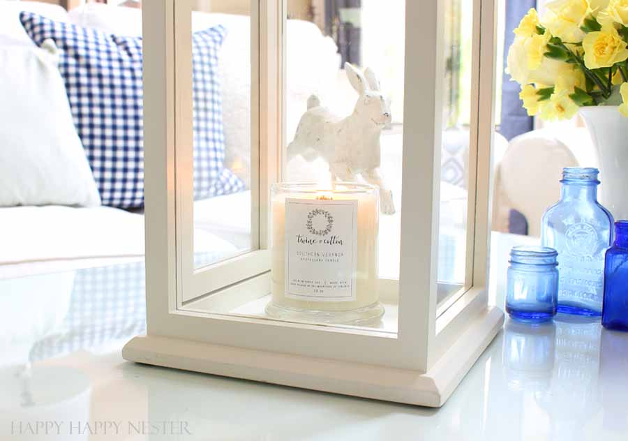 white pottery barn lantern