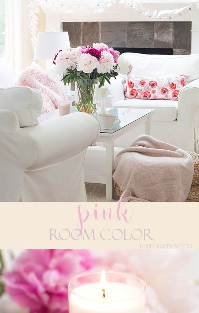 Frequently add a splash of living room color to freshen up your home. Here are 5 simple tips to an easy change. Pink and white are fun living room color combinations that celebrate spring and summer. See, how easy you can transform your decor. #pink #pinkdecor #decorating #summerpink #roomcolor #color