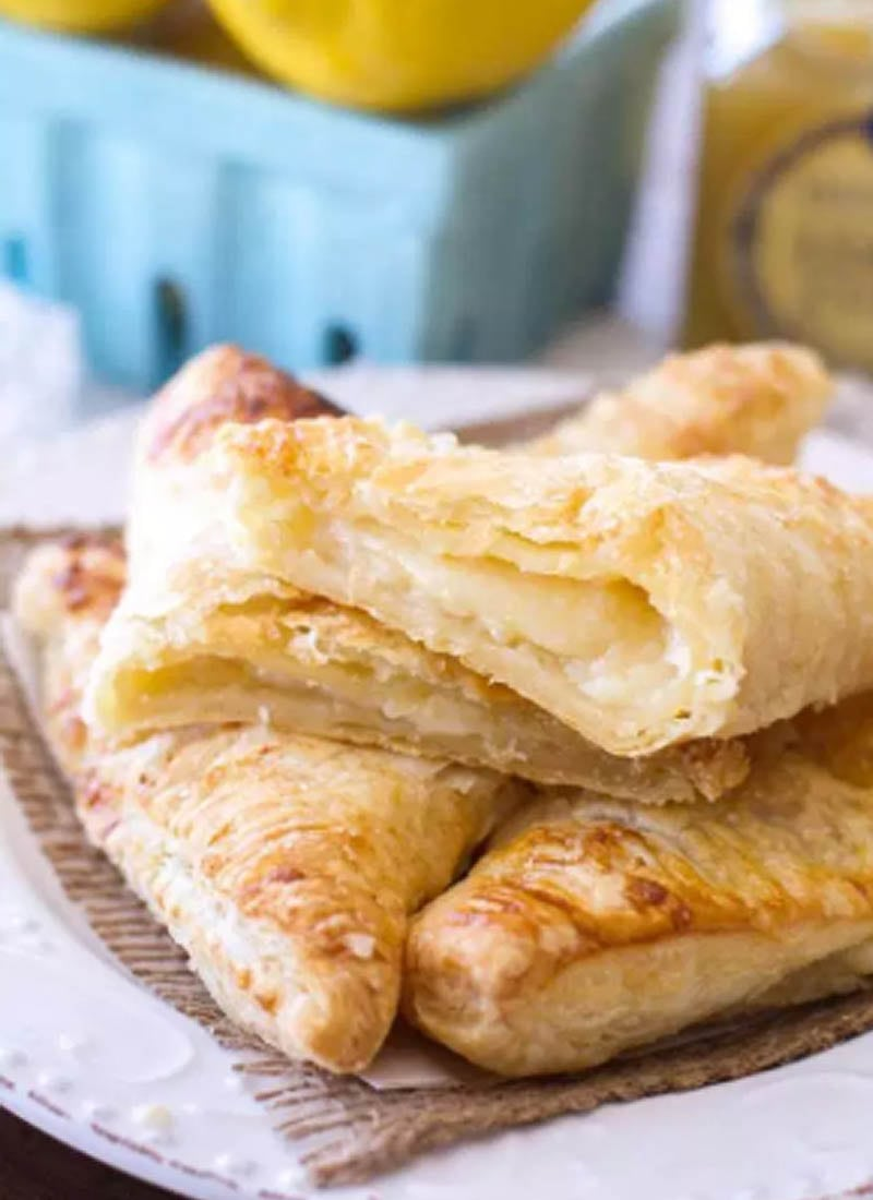 Lemon Cream Turnovers on a plate
