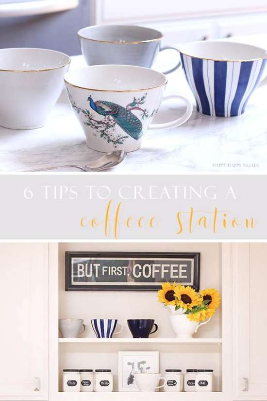a collage of coffee mugs and a white kitchen shelf