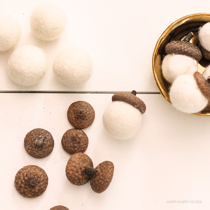 White acorns on a table