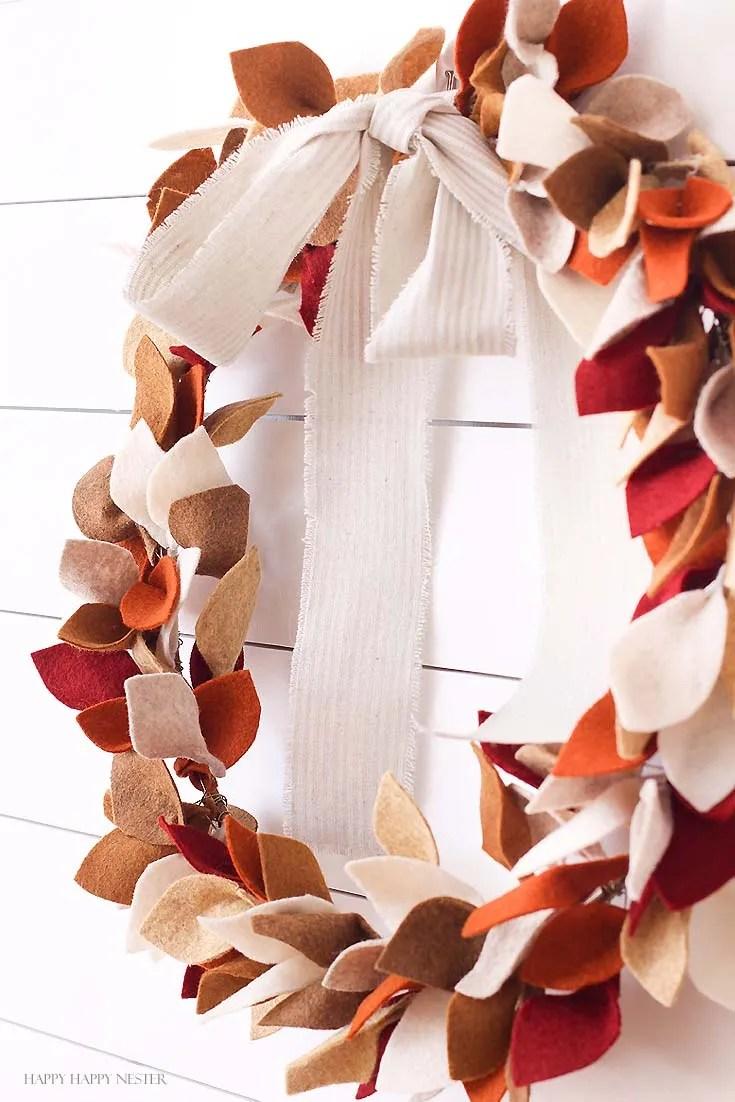 Handmade Felted decorations Halloween Felt Garland Autumnal Wreath Autumn leaf decoration Wedding Decoration