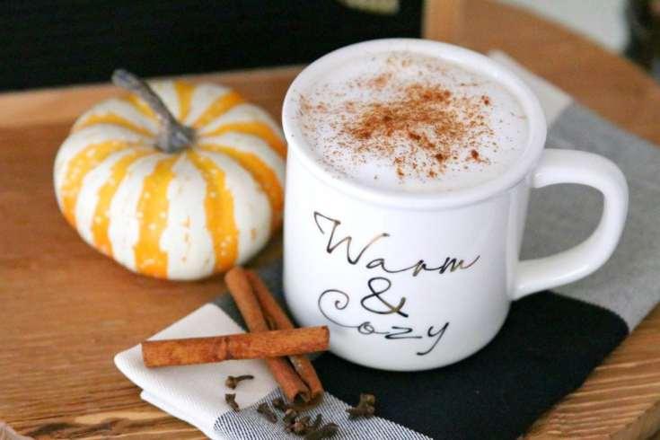 pumpkin spice drink in a white mug