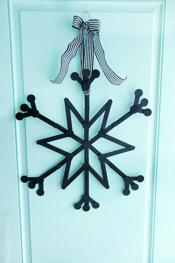 popsicle stick snowflake wreath
