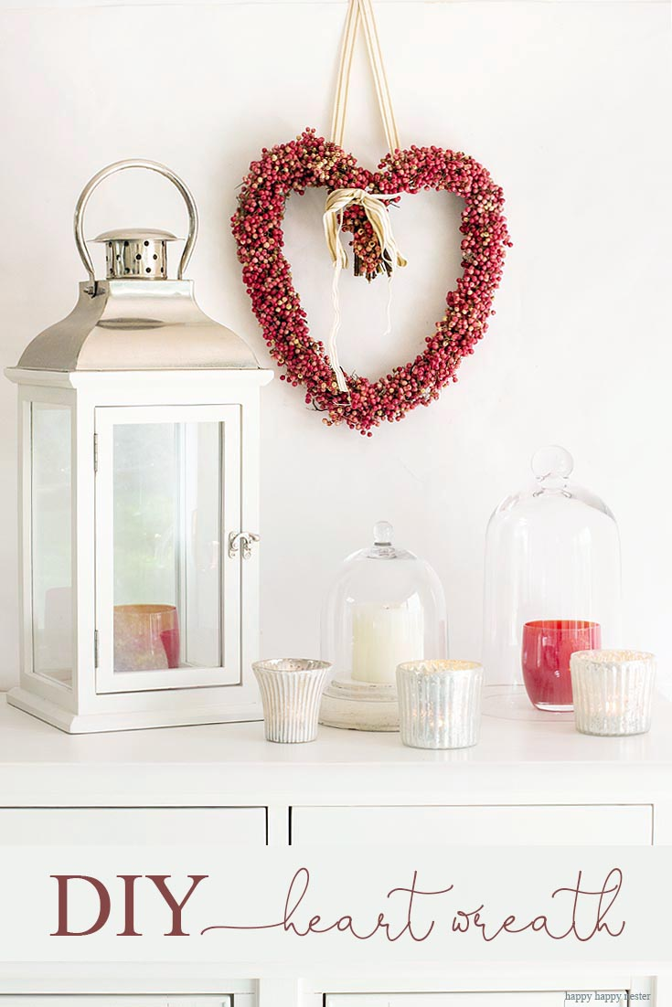 This easy DIY Heart Wreath Tutorial has a vintage style that is perfect for Valentine's Day and all year. The pepper berries add a natural touch which is gorgeous. If you have these trees in your neighborhood then you'll love to make this wreath. Wreaths | Valentine's Day Wreath | Diy Wreaths | Crafts | Valentine Craft