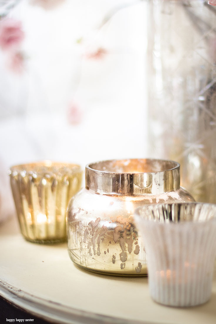 Choose mercury glass votives to your home. This year Add Hygge To Your Home with Candles. It is an easy way to warm up your home throughout the year. Embrace the cozy Danish concept of Hygge. I combined all my mercury glass candles to add that additional sparkle to the room. Hygge | Hygge Home | Candles | Decorating With Candles | Winter Candles | Mercury Glass