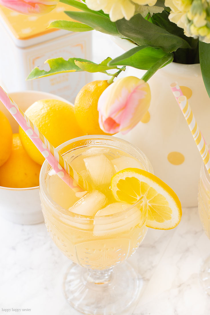 A Great Summer Drink Recipe. This is a yummy Carbonated Lemon Iced Tea Recipe that is a refreshing sparkling tea. Since I have a ton of Meyer lemons that is what I used, but you can use lemons for this recipe. This is a sweet tea with bubbly carbonation. #icetearecipe #icetea #sparklingdrinks #drinkrecipes #lemonrecipes #meyerlemons #sparklingteas
