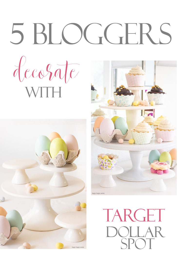 This week, our 3 Ingredient challenge is to Decorate with Target Dollar Spot Items! For this project, I came up with a great display for my yummy Easter cupcakes. My cake stands and eggs are so cheap, and I'm so pleased how great they display my desserts for entertaining. #target #targetdollarspot #decorating #easter