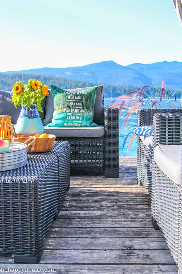 This beautiful lake house has the prettiest outdoor dock! Take a tour and get some fabulous ideas.