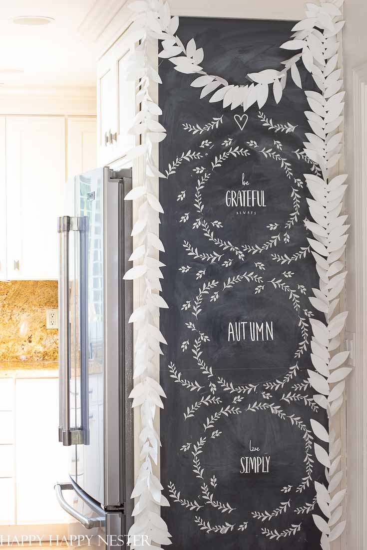 If you ever get intimidated by how to create Chalkboard Art, then you'll want to try stencils. It makes it easy to paint a pretty design on your chalkboard. #chalkboard #chalkboarddesigns #arwork #chalkboardpaint
