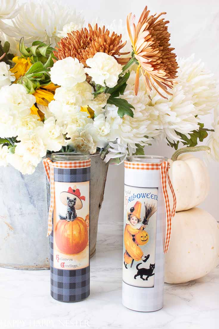 Make these candle labels on your printer and within minutes you have these adorable candles. #crafts #halloweencrafts #halloween #freeprintables