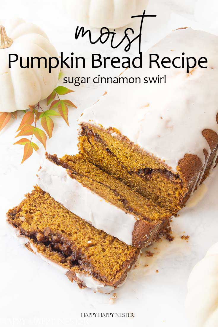 This is the Moist Pumpkin Bread Recipe with a cinnamon, sugar and nut swirl in the middle and topped with icing. Also, this pumpkin bread is easy to make and yummy. This the best recipe you'll ever find. #recipes #thebestpumpkinbread #icedpumpkinbread
