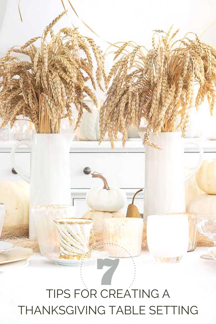 Here is a Thanksgiving Table Setting Made Easy. Find out how to set a Thanksgiving table step by step. Wheat makes a beautiful fall centerpiece for a table. #thanksgiving #thanksgivingtable #tabledecor #createathanksgivingtable #tablesetting #wheat #weddingdecor