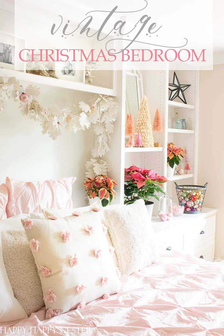 Easy Vintage Christmas Bedroom Decor is a bright and pink winter wonderland. It's a fun and happy room decked out in vintage ornaments and pink poinsettias. #christmasbedroom #craneandcanopybedding #Christmasdecor #vintagedecor