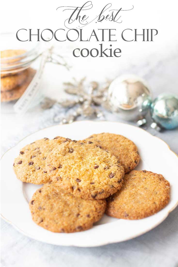 If you like a crispy and chewy cookie, then you'll love this Chocolate Chip Cookie Recipe, this is a thin, crispy cookie that is easy to make and so yummy. #cookie #cookierecipe #christmascookie