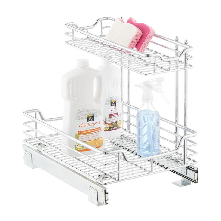 This item is a well made stainless steel shelf for under the sink kitchen organization. It makes your space under the sink very efficient. #organizing