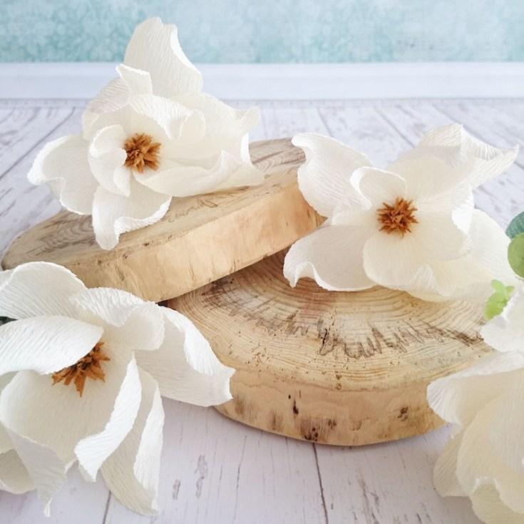 white Magnolia paper blossoms