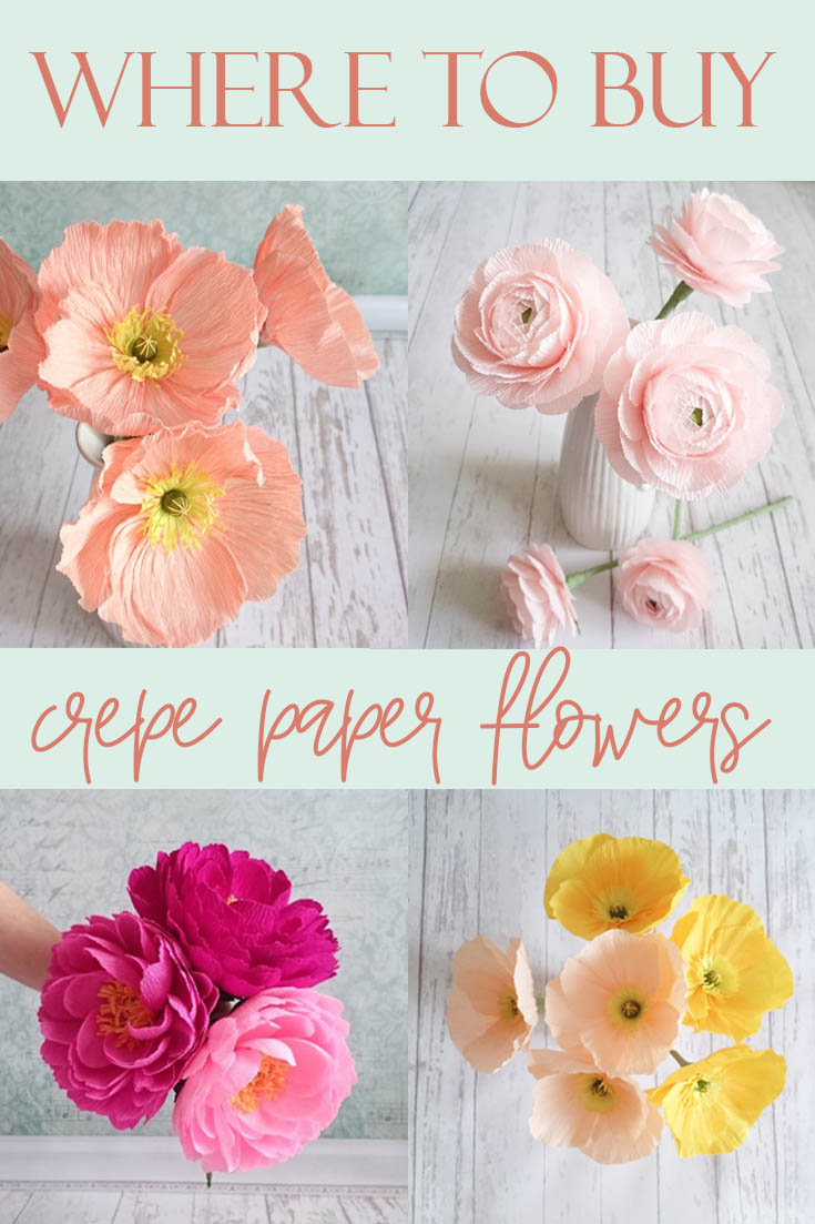 Where to buy crepe paper flowers on Etsy. Pin for Pinterest