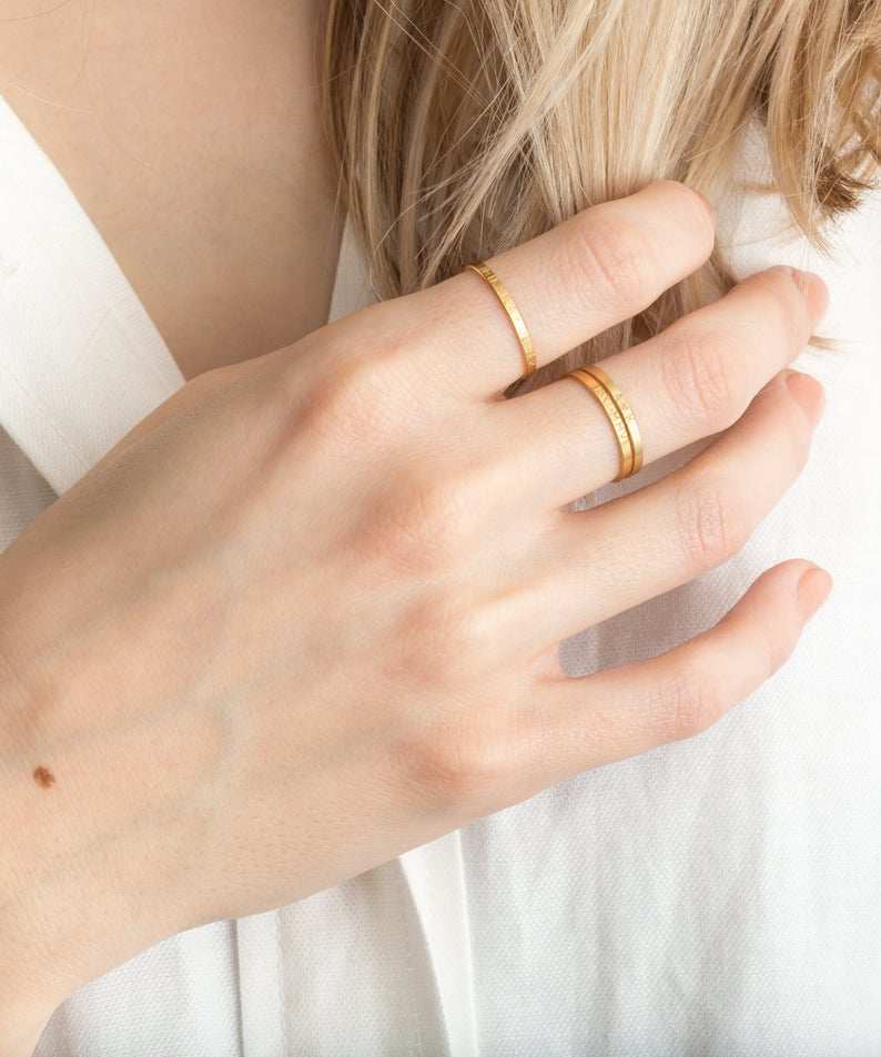 love these gold dainty rings