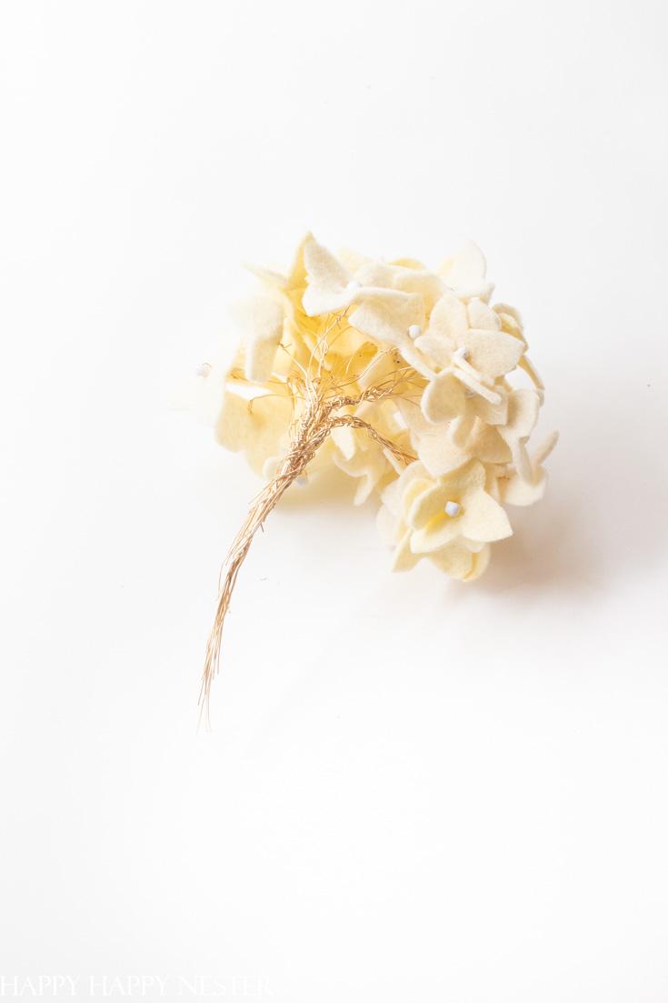 white felt hydrangea flower