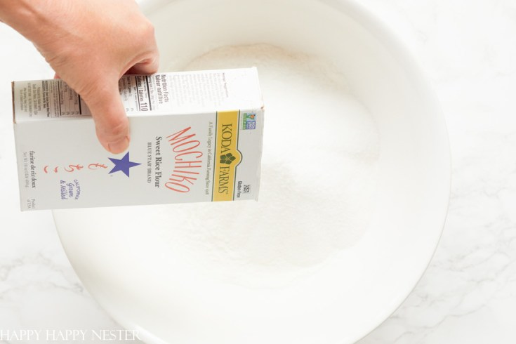 Add Mochiko flour to a big bowl