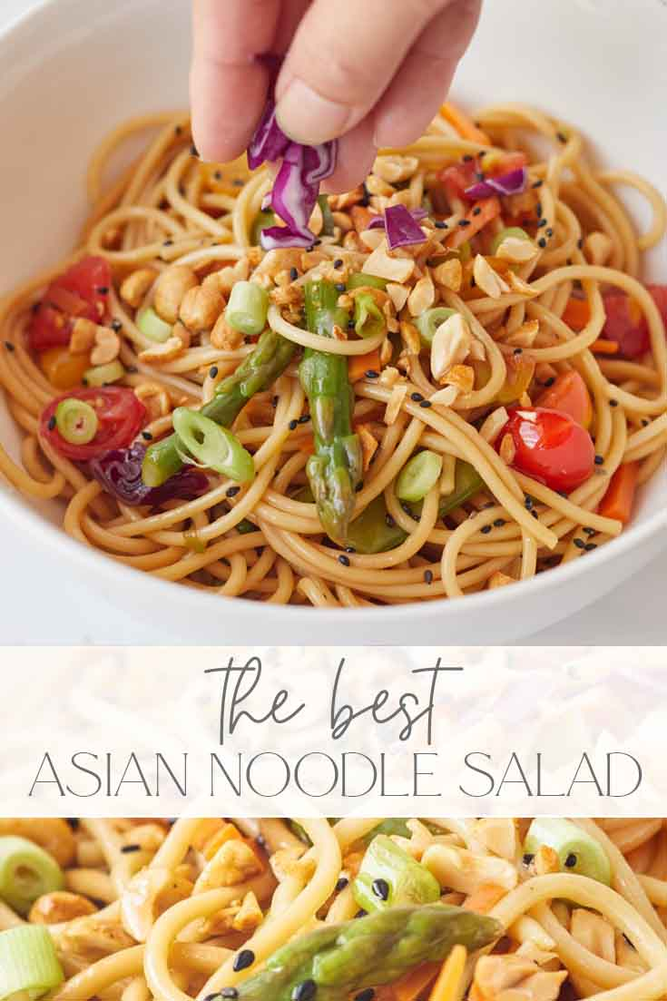 Simple Asian Noodle Salad with Toasted Sesame Dressing pin