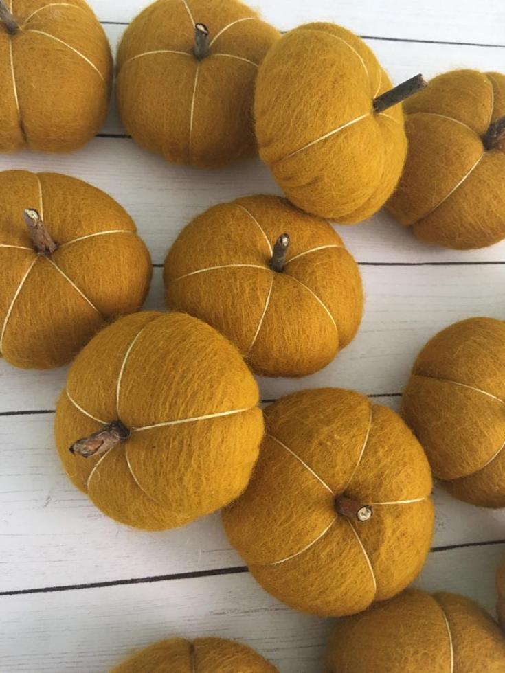 felted pumpkins on Etsy