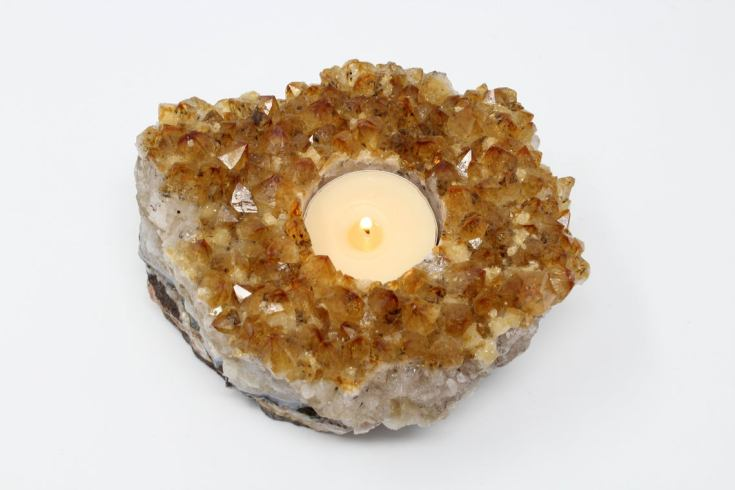 citrine quartz candle holder